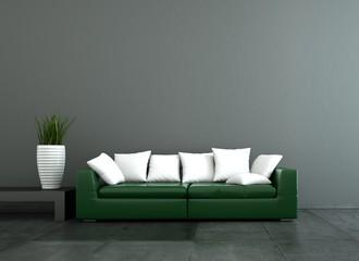 WOhndesign - grünes Ledersofa