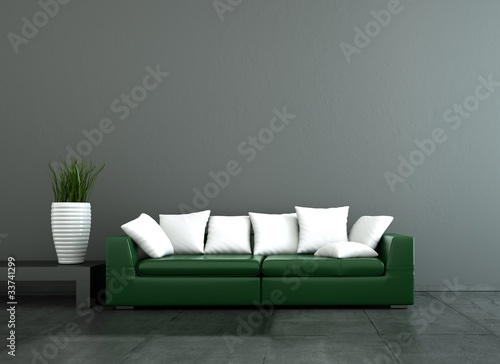 wohndesign gr nes ledersofa stockfotos und lizenzfreie. Black Bedroom Furniture Sets. Home Design Ideas