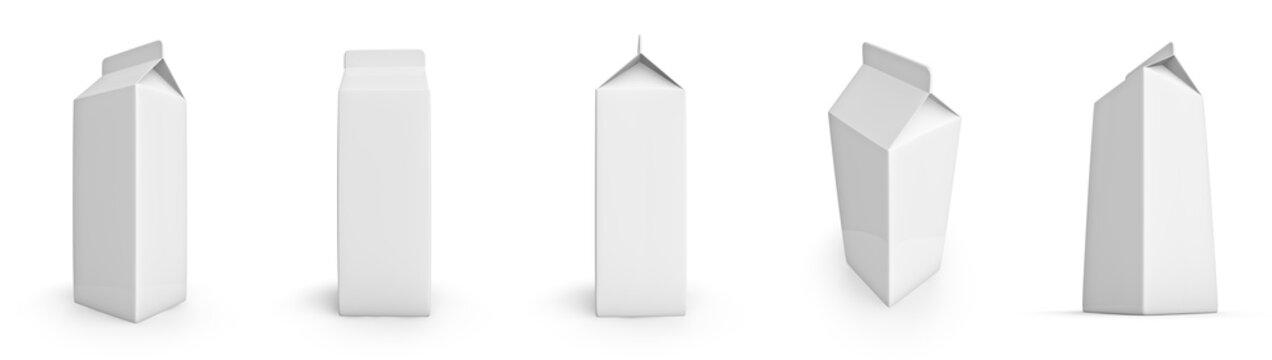 Set of blank milk or juice cartons