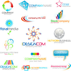 Set of different abstract symbols for design and logo