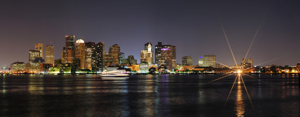 Boston downtown panorama at night