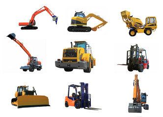 set of a building machines