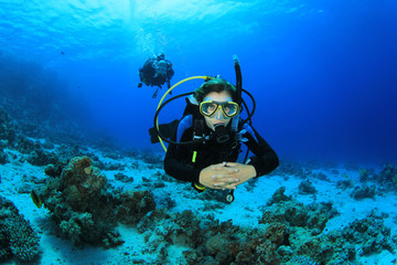 Female Scuba Diver in Tropical Sea