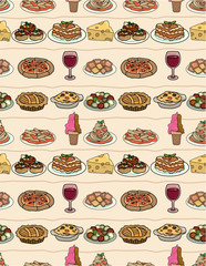 cartoon Italy food seamless pattern
