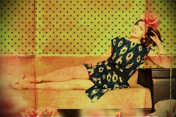 beautiful woman in retro room