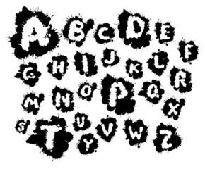 Vector black blots alphabet on a white background