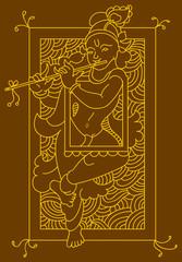 Krishna Folk tribal design motif