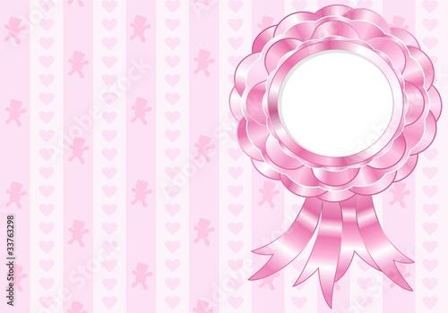 Sfondo Coccarda Fiocco Bimba Rosette Ribbon Baby Girl Vector Stock