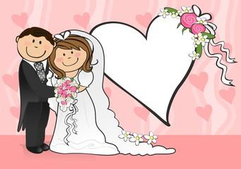 Newlyweds pink heart background
