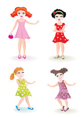 Vector set of funny dolls