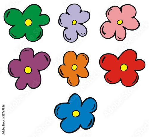 Vektorgrafik: farbige Blumen\