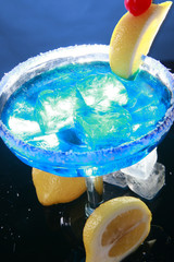 Blue Curacao on blue with lime and salt rim