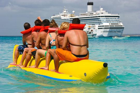 People having fun on Caribbean vacation