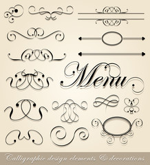 Vector calligraphic design elements and page decorations