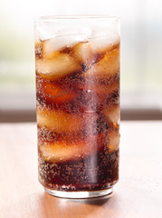 drink: glass of cold cola