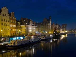 night scene at old town of Gdansk