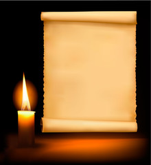 Background with old paper and candle . Vector illustration.