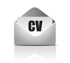 Curriculum vitae (resume) opened envelope concept