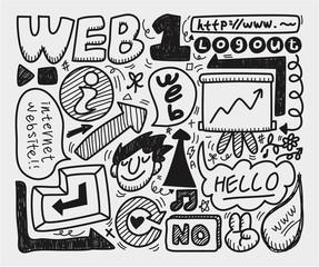 doodle web element icon set.