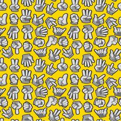Cartoon Hands seamless pattern