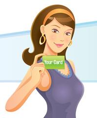 Pretty Girl Holding Card