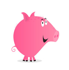 Cute Smiling Pink Pig