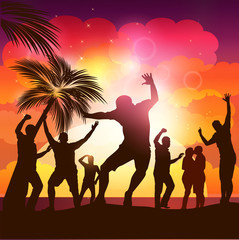 Sunset Beach Party-People Dancing