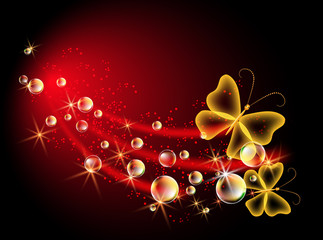 Background with bubbles and butterfly