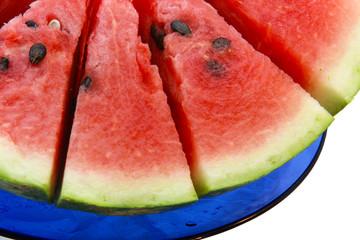 watermelonon on  blue plate