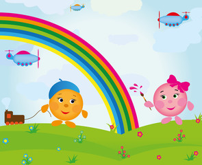 Door stickers Rainbow cartoon_rainbow