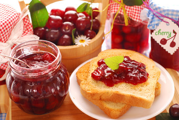 breakfast with cherry preserves