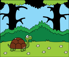 Happy little cartoon turtle in the forest