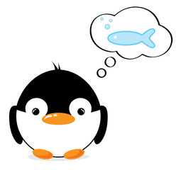 Funny cartoon penguin thinking of fish