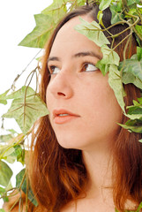 Girl Looking Up in the Midst of Plants