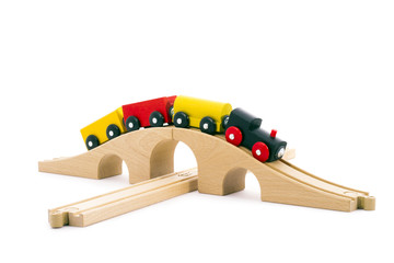 Children's Toy small train, a white background isolated.