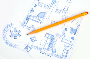 Pencil and house plan