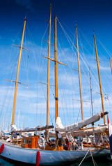 Sail yachts in port in France.