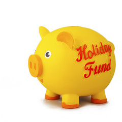 Side view of yellow piggy bank, isolated on white.