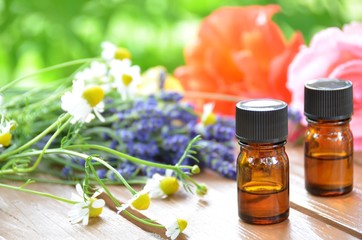 essential oil with herbs