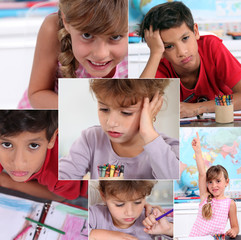 Collage of children in classroom