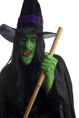Wicked witch and her broom stick, white background.