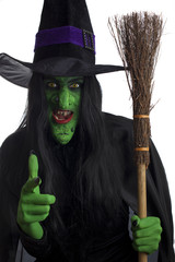 Evil witch and her broom stick, white background.