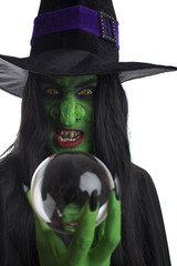 Wicked witch and her crystal ball, white background.