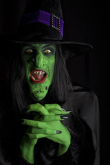 Scary green witch, Low key lighting.