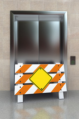 Broken elevator with construction barrier