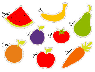 Fruit stickers with scissors