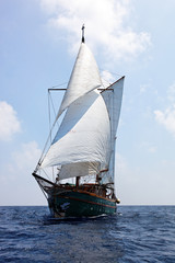 Old wooden sailboat