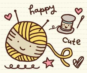 Cute Doodle Yarn and Spool