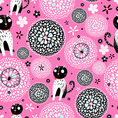 Printed kitchen splashbacks Cats abstract texture with cats