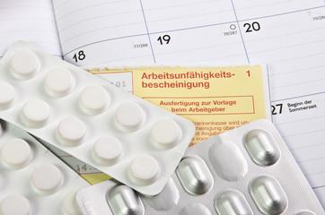 Arbeitsunfähig Krank Tabletten